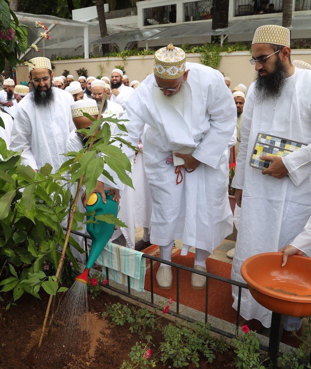 Syedna Mufaddal Saifuddin planting and watering a tree sapling, Environment