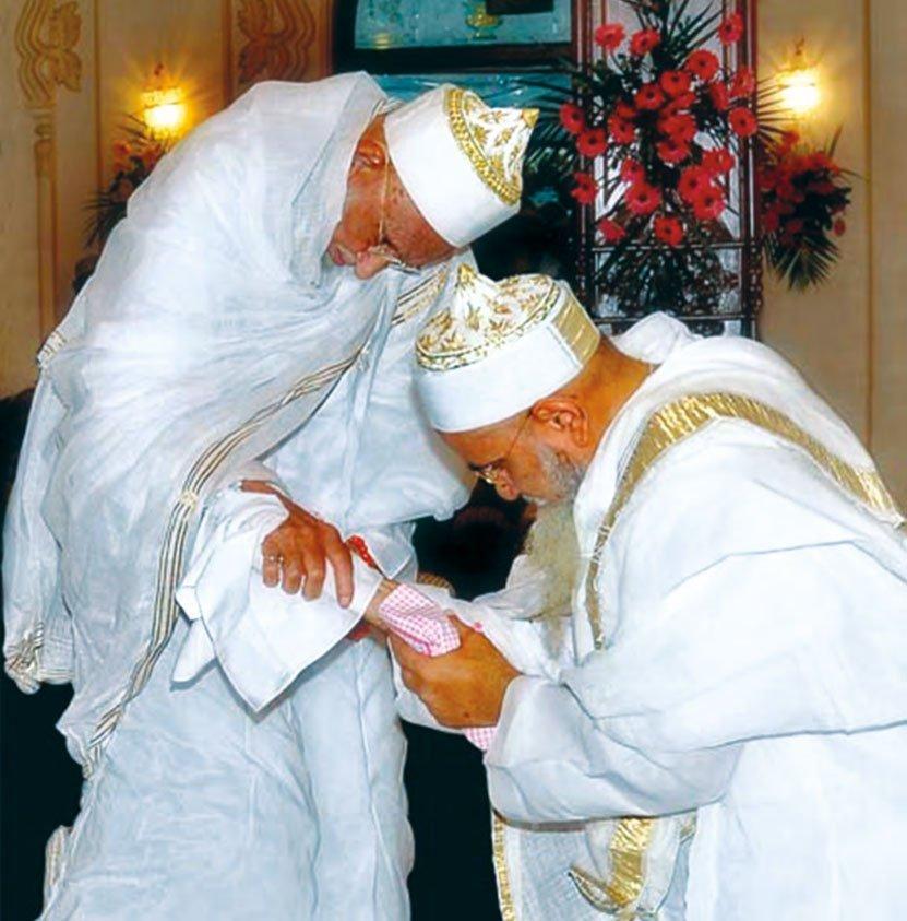 His Holiness Syedna Mohammed Burhanuddin and his son and successor Syedna Mufaddal Saifuddin